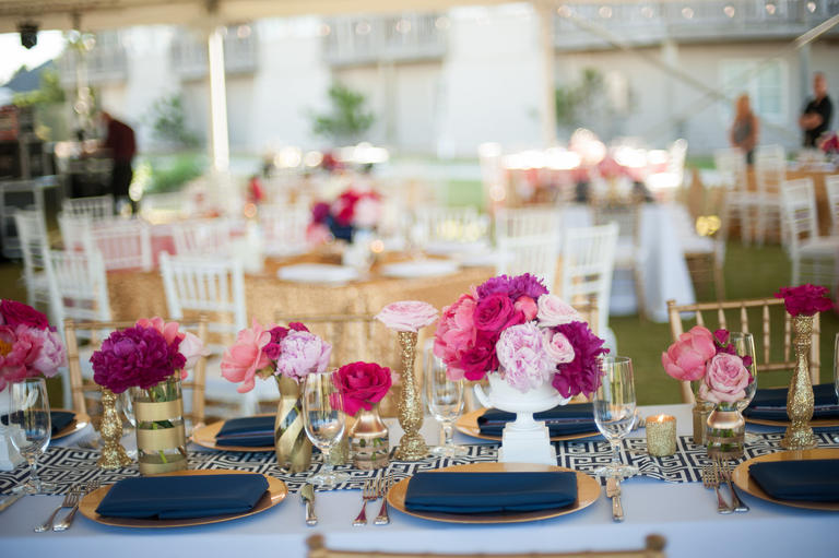 Navy, fuchsia and gold table settings