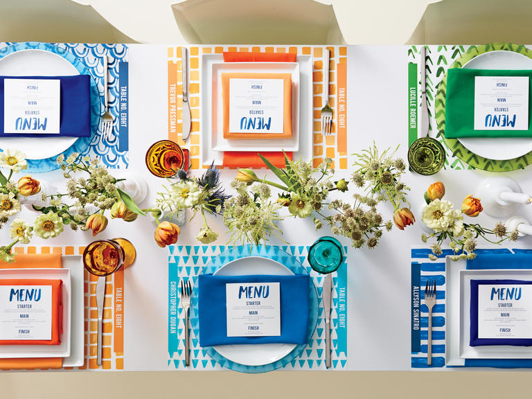 Blue orange and green personalized place settings