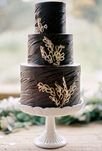 chocolate cake with white