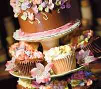 Delicious Wedding Cake and Cupcakes