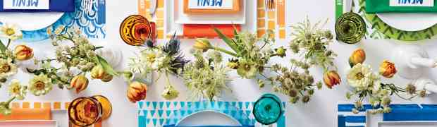 Wedding Idea : Color Palette of Water Color Greens, Oranges and Blues