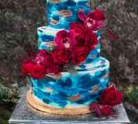 Blue Wedding Cake with Fresh Flowers