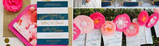 Wedding Idea : Fuchsia, Navy and Gold in Wedding